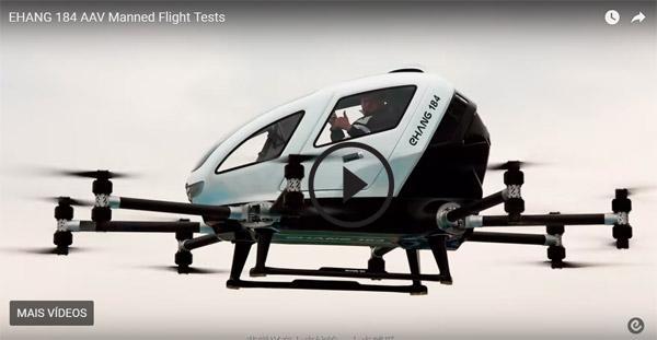 China já transporta humanos em drones